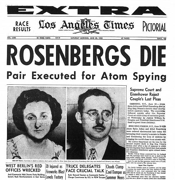 Σαν σήμερα 19 Ιουνίου του 1953 εκτελείται στις Ηνωμένες Πολιτείες μετά από μια παρωδία δίκης το ...