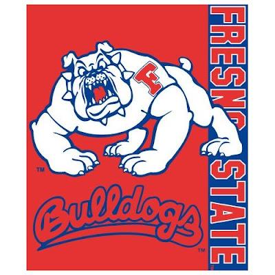 Fresno State Bulldogs throw blanket with Timeout the Bulldog mascot.