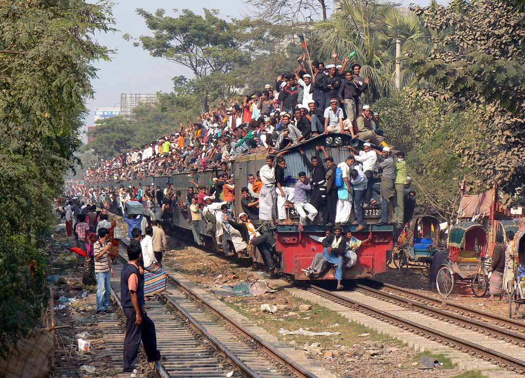 This picture represents Assam, reserved seats inside, yet illegal boarding everywhere.