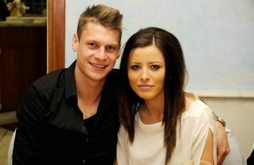 Lukasz Piszczek avec jolie, femme Ewa Piszcek