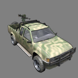 pickup car mounted with DShK machine gun – illustration