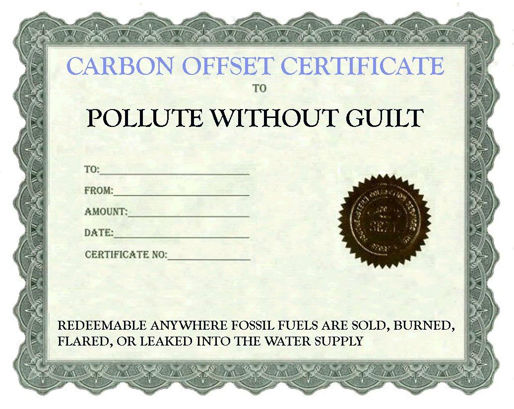 weblog: carbon offset certificate - front