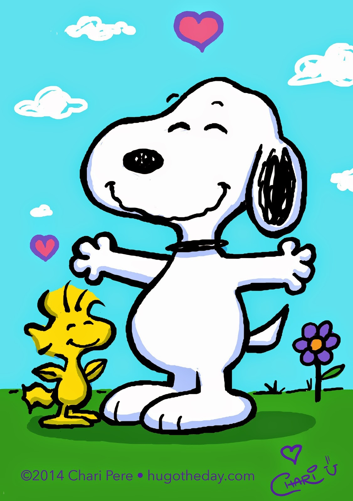 ... hug from Woodstock! Because of course, Happiness is...a warm hug