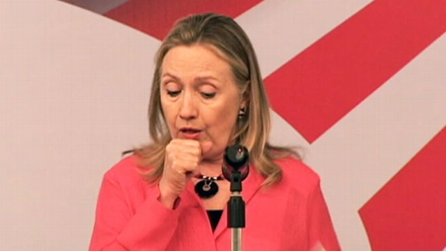 VIDEO: Secretary of State Hillary Clinton has a coughing fit in Hanoi.