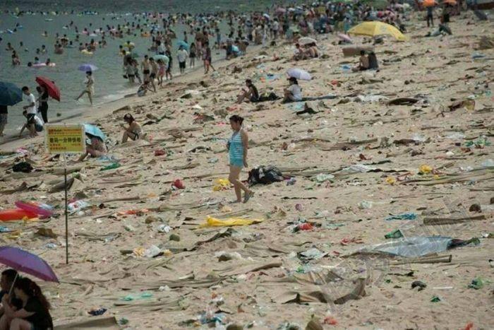 Notez que le problème de cette plage vient de la femme en tenue intégrale à gauche de l'image