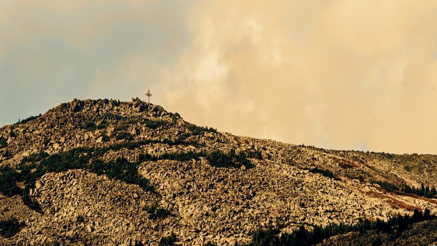 Cross On Top Of The Hill Stock Footage Video 4290368 ...