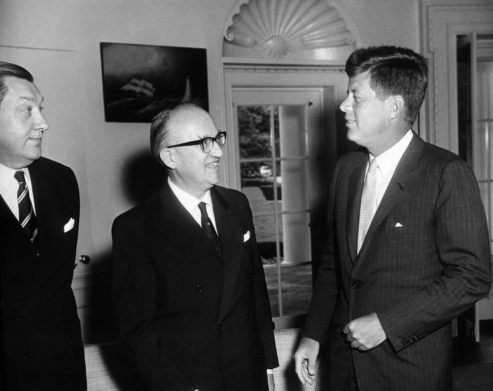 AR6589-A. President Kennedy with Dr. Walter Hallstein, President of ...