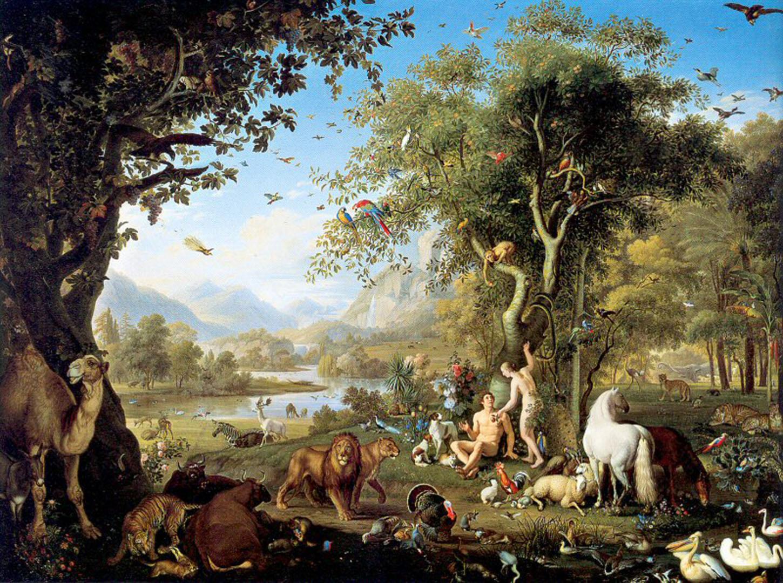Adam And Eve In The Garden Of Eden - Austrian Art