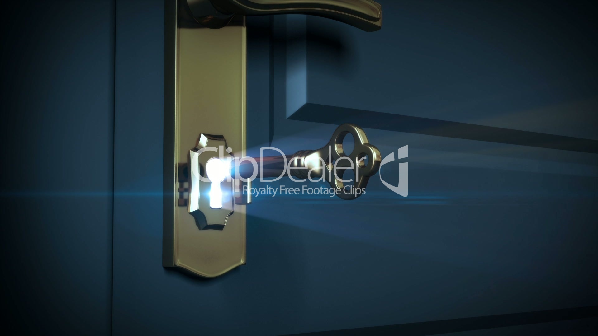 Key unlocking lock and door opening to a bright light. HD ...