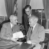 President Harry Truman Meeting with Pm David Ben-Gurion (Seated) and ...