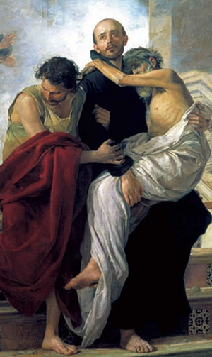 detail from a painting of Saint John of God saving sick people from a ...