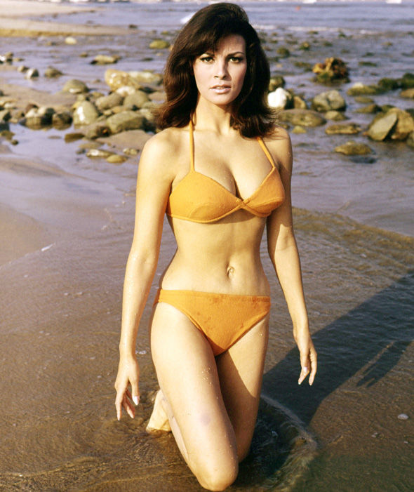 Raquel Welch wearing an orange bikini in a publicity still for 'The ...