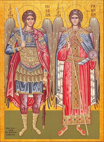 Orthodox icon of Archangels Michael and Gabriel (2 ...