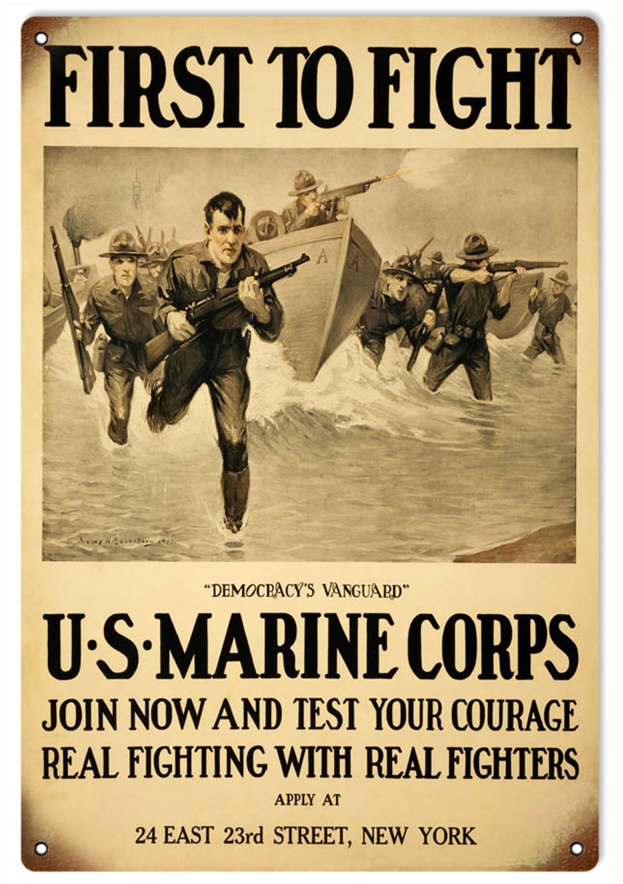 """""""U.S. MARINE CORPS VINTAGE RECRUITING POSTER"""" METAL SIGN ..."""