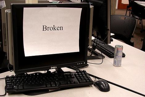 broken computer in a lab