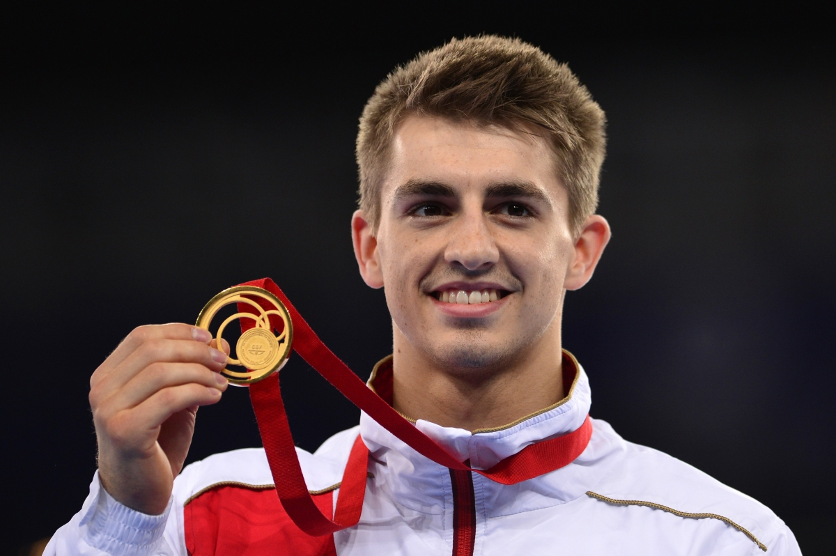 The 24-year old son of father (?) and mother(?), 167 cm tall Max Whitlock in 2018 photo