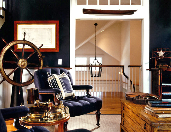Awesome navy captains cabin inspired room - nautical design inspiration.