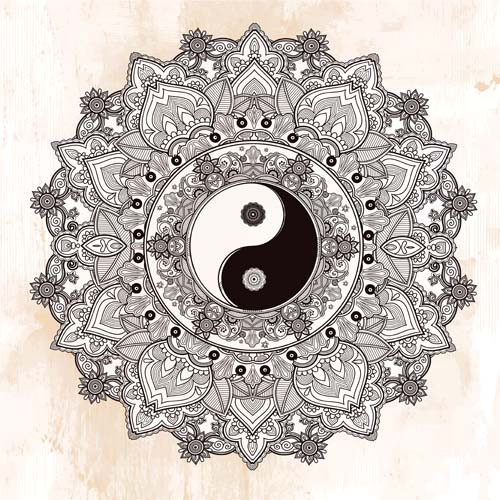 Yin and Yang with mandala patterns vector 08 - Vector Pattern free ...