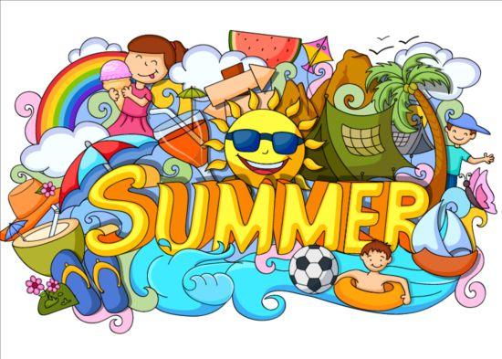 Summer holiday doodle vector illustration free download