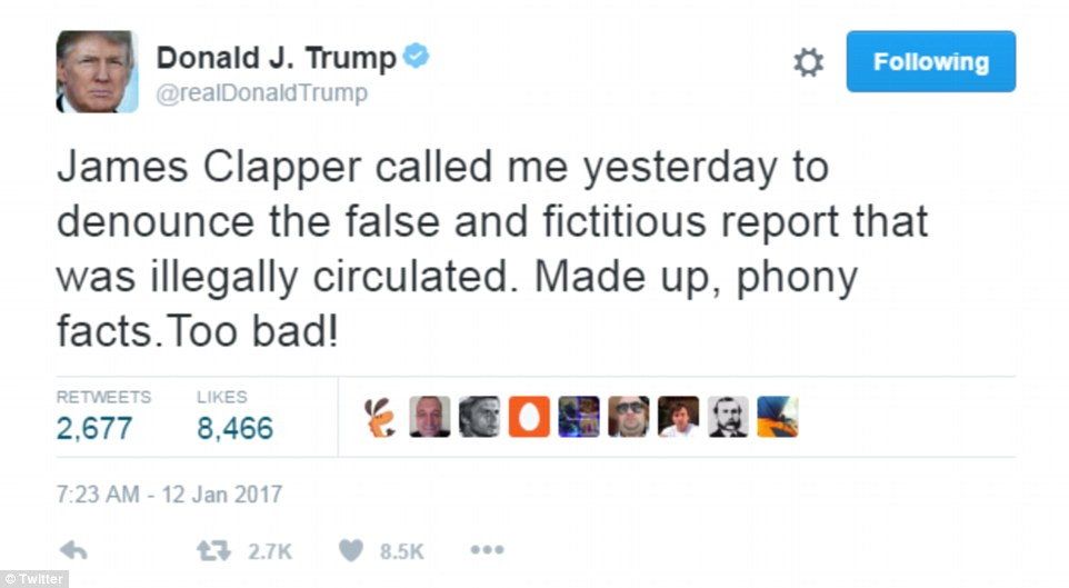 President-elect Trump claimed in tweet Thursday morning that Clapper ...