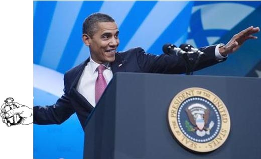 """Not the best photo choice for the """"Obama warns Iran he ..."""