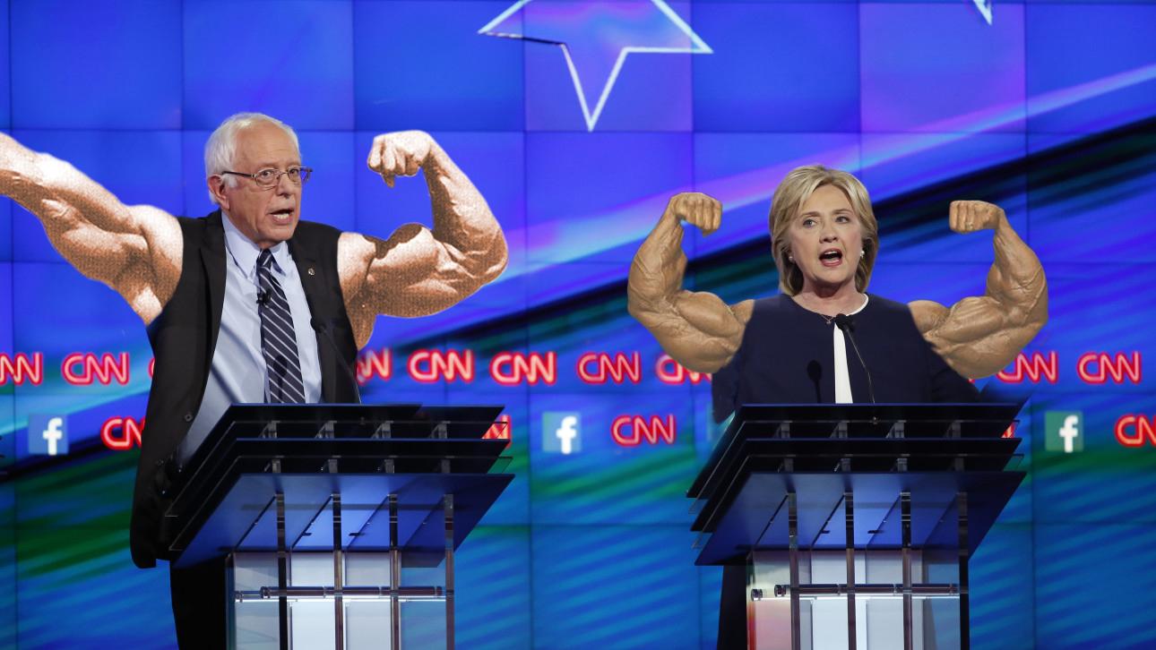 Hillary Clinton Bernie Sanders debate Photoshop battle