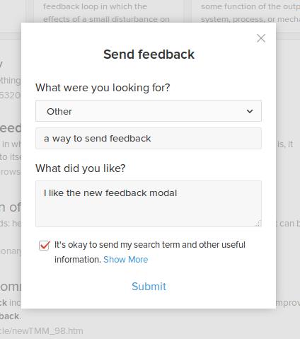 feedback modal