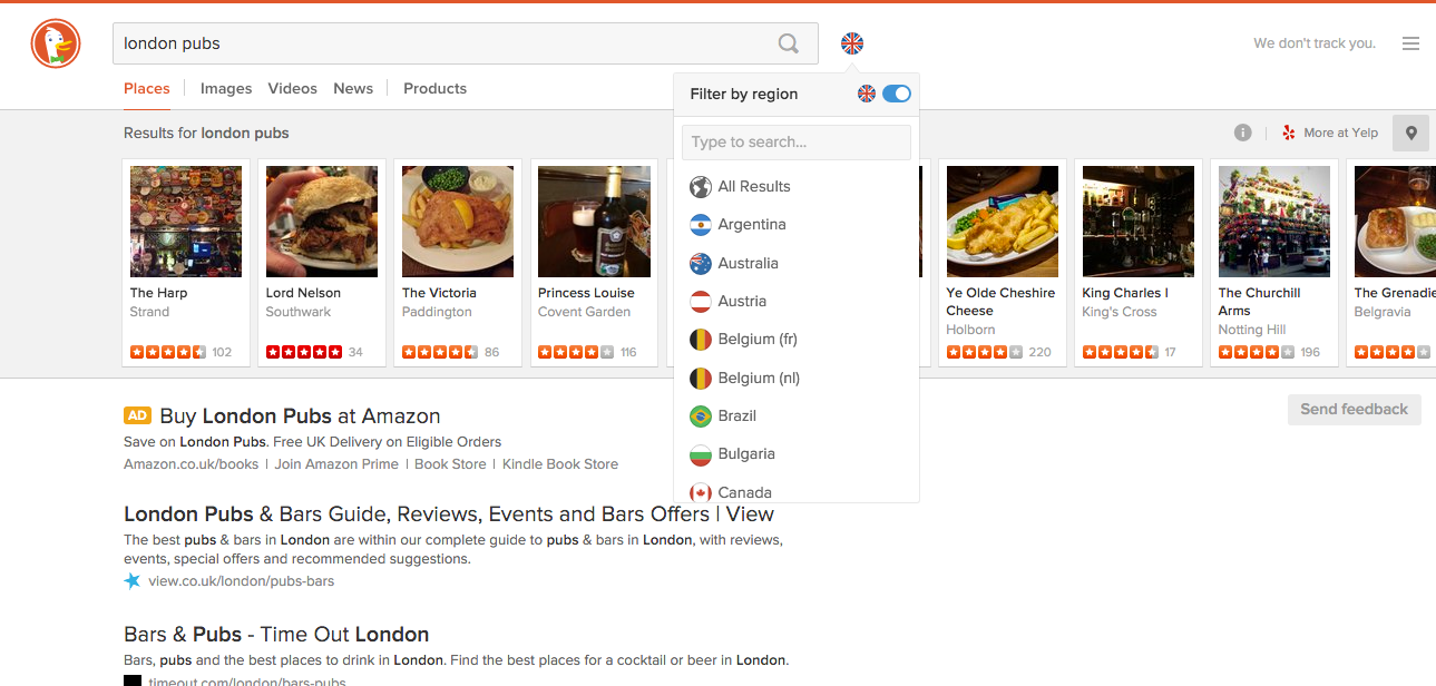 Screenshot of the latest DuckDuckGo search page