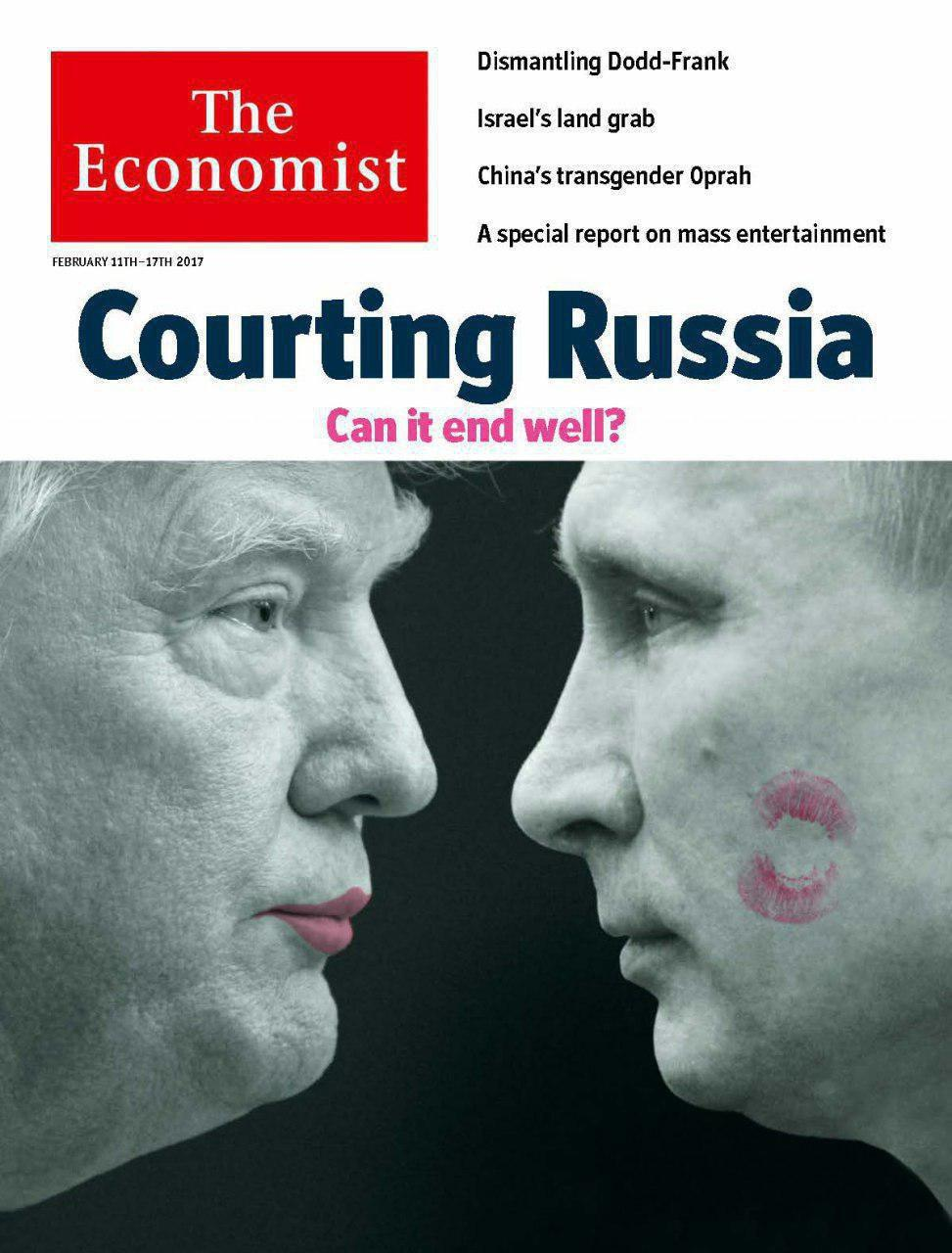 Trump's Kiss on Putin's Cheek in The Economist's Latest Cover