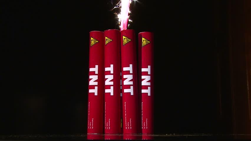 Explosive TNT, Fuse, Burning, Extinguished Wick Stock ...