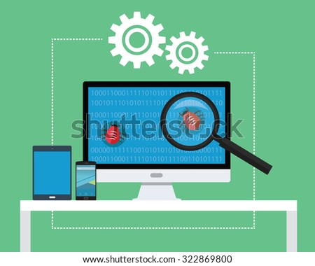 Software Testing All Devices Find Bugs And Tester Stock ...