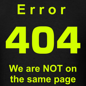 Error 404 - We are NOT on the same page - Black | T-shirts ...