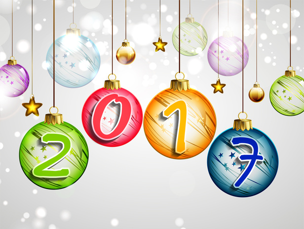 2017 happy new year hanging christmas ball Free vector in Adobe ...