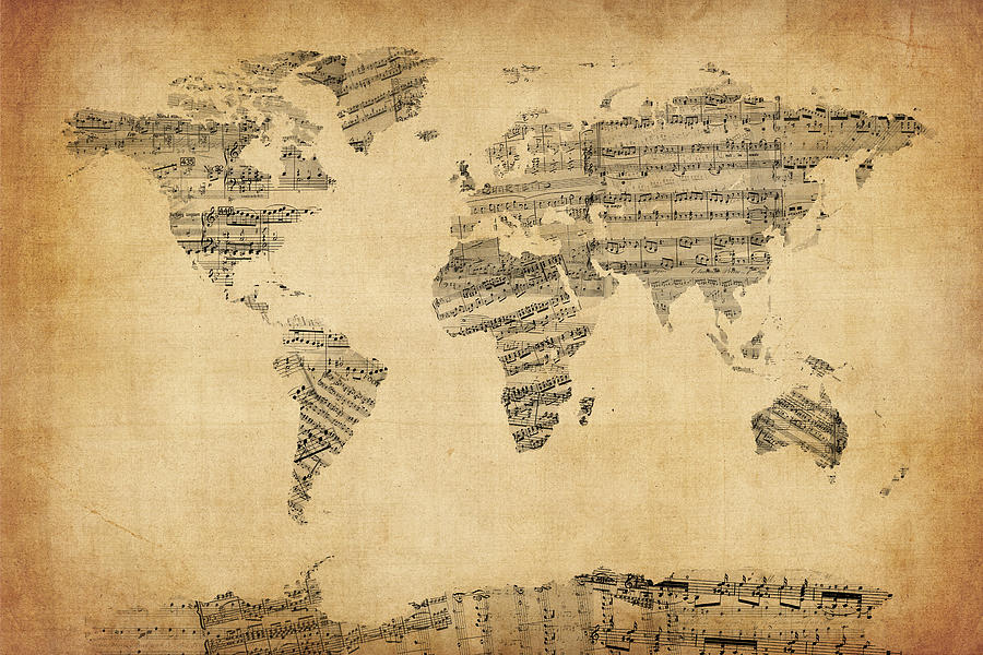 World Map Digital Art - Map Of The World Map From Old Sheet Music by ...