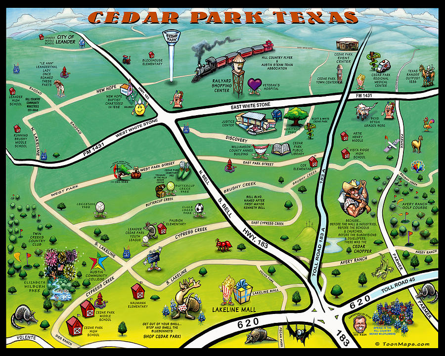 Cedar Park Texas Cartoon Map Digital Art by Kevin Middleton