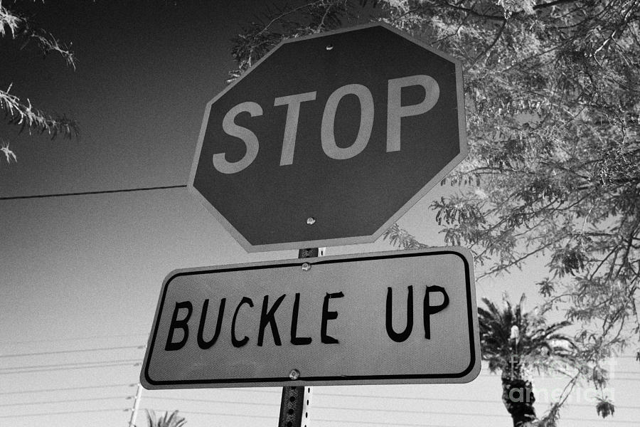 buckle up sign below stop sign in Las Vegas Nevada USA ...
