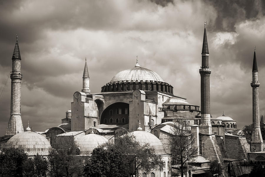 Hagia Sophia Istanbul Black And White Photograph by For ...