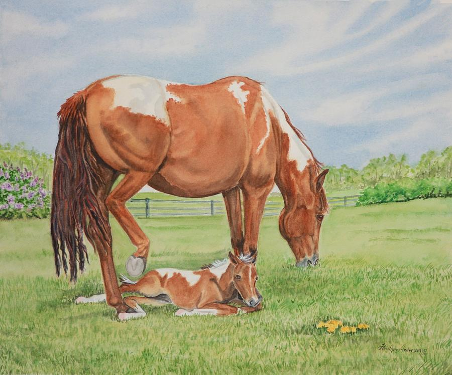 Paint Horse Mare And Foal Painting