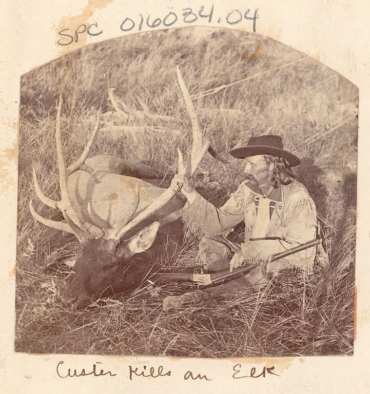 ". 1874, ""Custer Kills an Elk"", General George Armstrong Custer ..."
