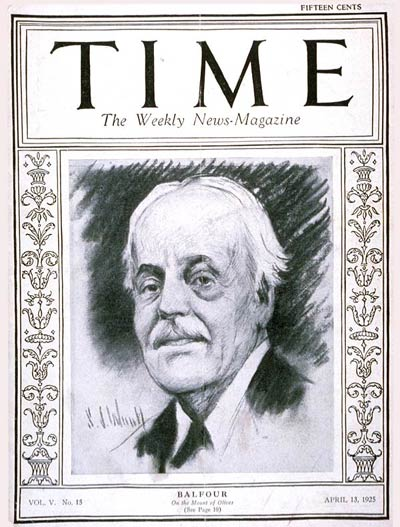 TIME Magazine Cover: Lord Arthur Balfour - Apr. 13, 1925 ...