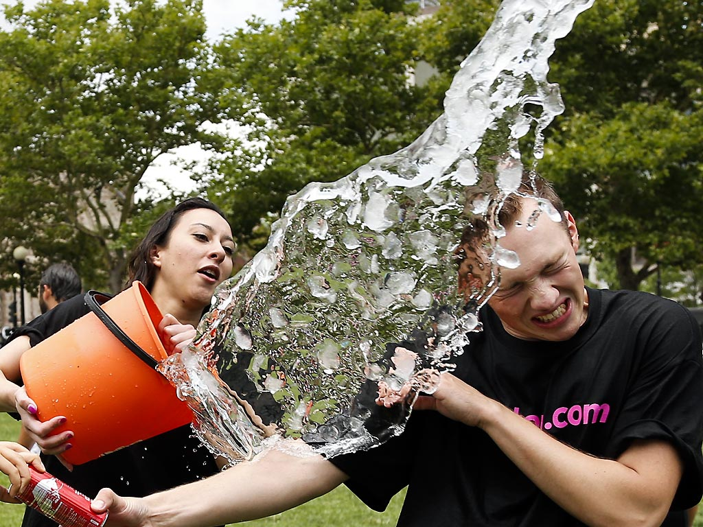... Matt Lee during the ice bucket challenge at Boston's Copley Square