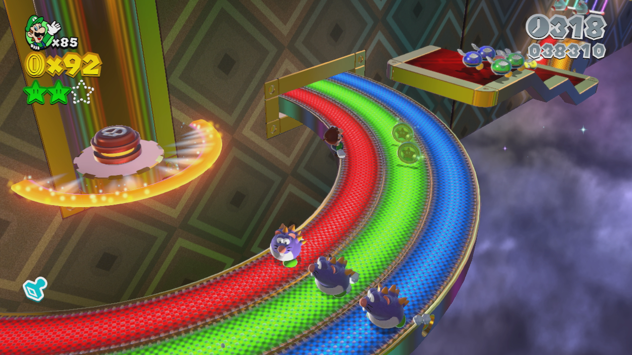 After the Checkpoint Flag, hop through the Green Star Ring ...
