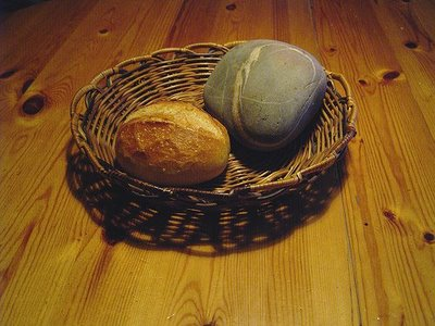 Picture of a stone and a loaf of bread