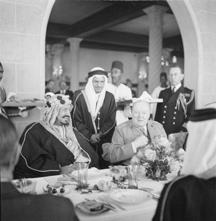 Winston Churchill sits with King 'Abd al-'Aziz Ibn Saud of Saudi ...