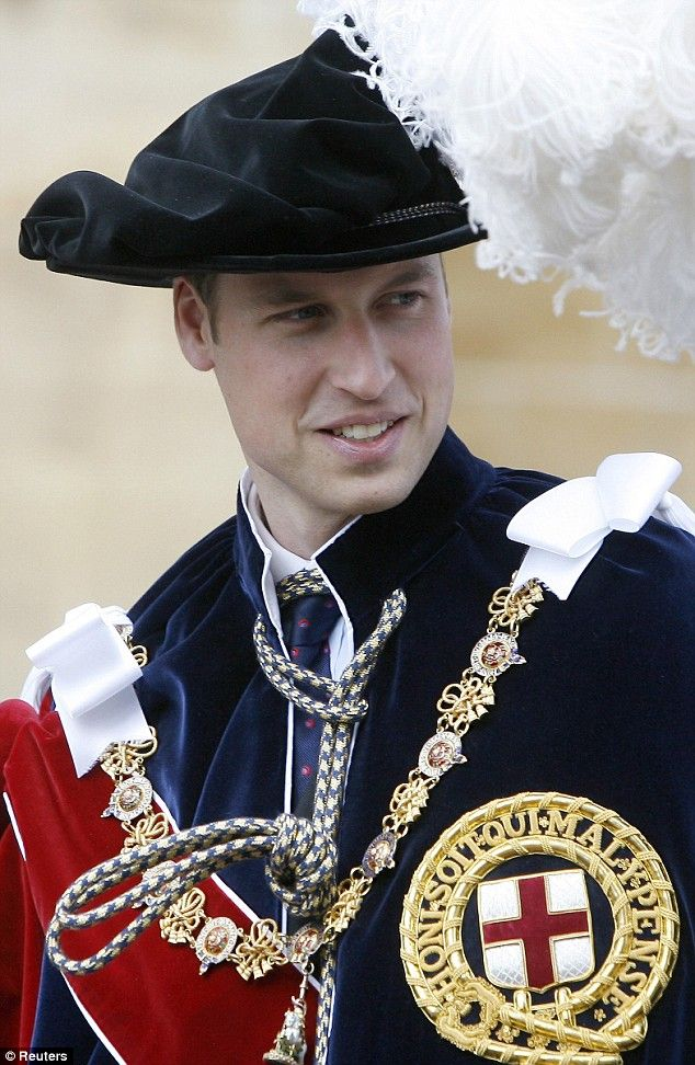 Prince William wearing the royal robe of the Order of the Garter