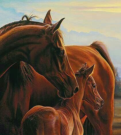 Mare and foal painting by Bonnie Mohr.