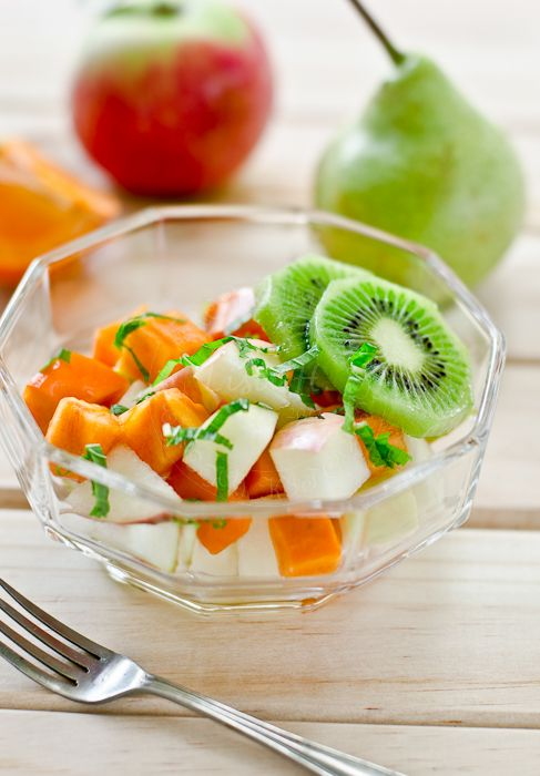 Persimmon, pear, apple, kiwi, lemon juice, and fresh chopped mint ...