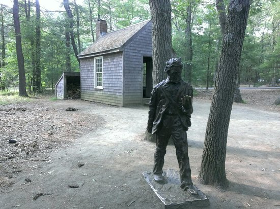 Henry David Thoreau statue located by his Walden cabin replica, next to the Thoreau Society stor ...