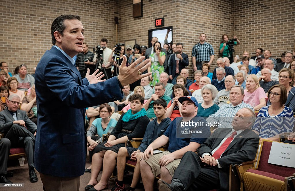 Ted Cruz addresses voters during a town hall meeting at the Lincoln ...