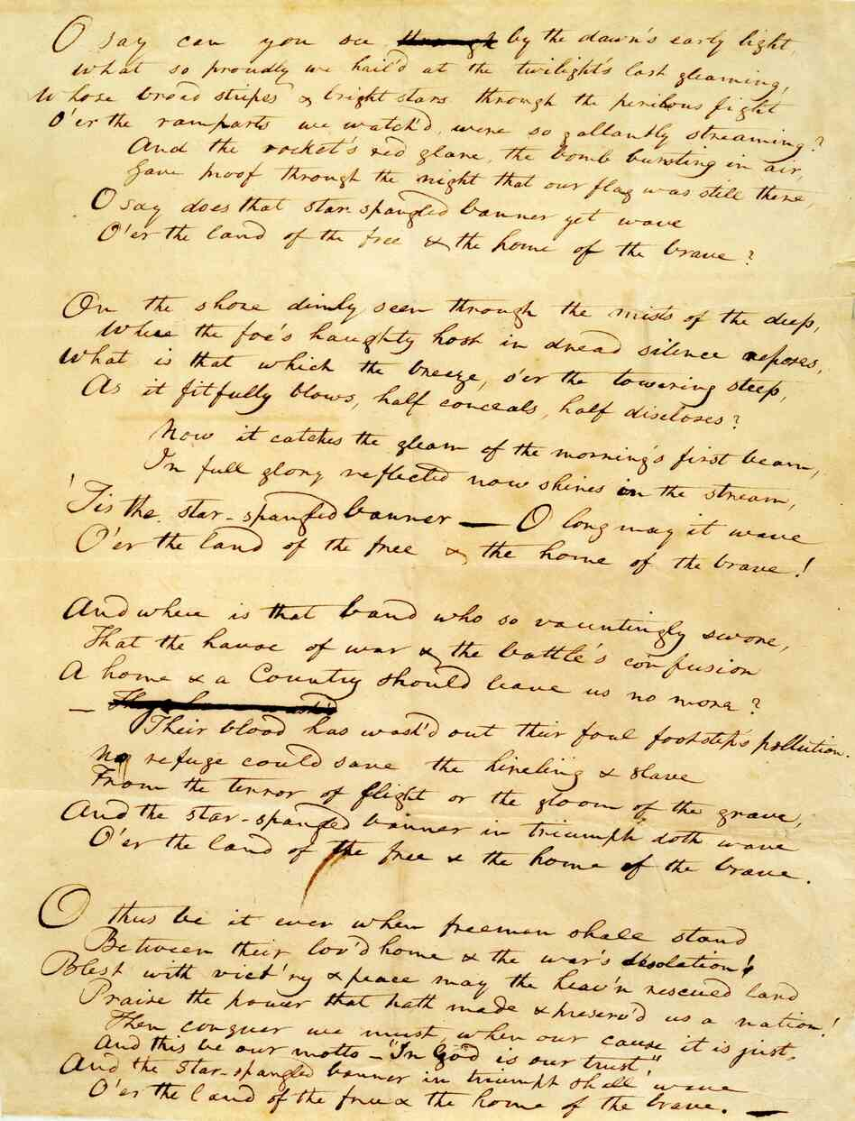 "The Star-Spangled Banner"" handwritten manuscript by Francis Scott Key ..."